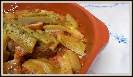 Tajine de boeuf et courgettes a l'huile d'argan