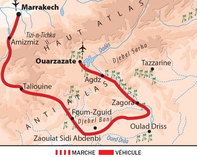 Carte du sud du maroc